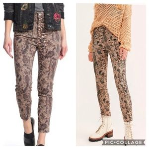 Free People Two Faced Snakeskin Jeans Hi Rise 27